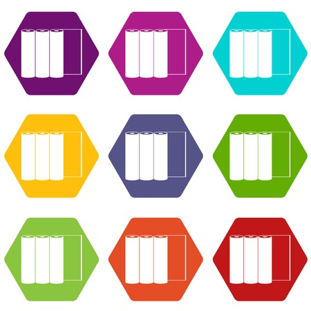 Rolls of paper icon set many color hexahedron isolated on white vector illustration Illustration