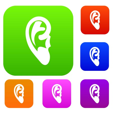 Ear set icon in different colors isolated vector illustration. Premium collection