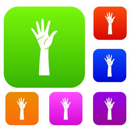 Hand set icon in different colors isolated vector illustration. Premium collection