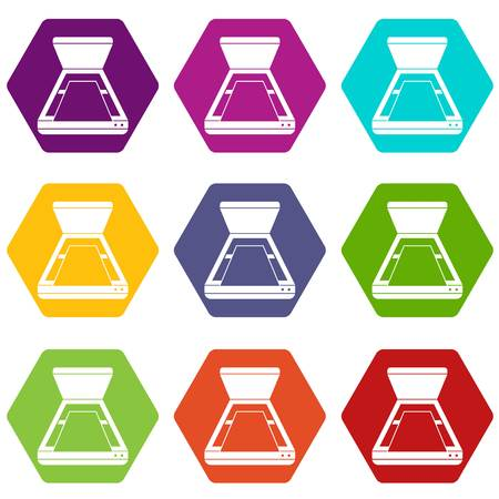 fotocopiadora: Open scanner icon set many color hexahedron isolated on white vector illustration