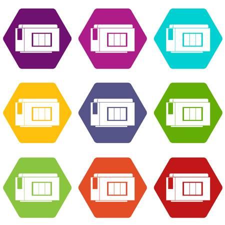 Inkjet printer cartridge icon set color hexahedron