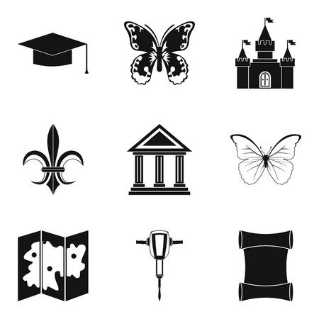 artefact: Antiquity icons set. Simple set of 9 antiquity icons for web isolated on white background