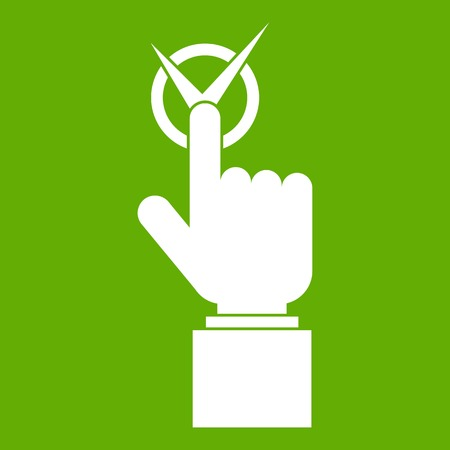 Hand finger pressing button with tick icon white isolated on green background. Vector illustration Illustration