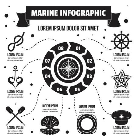 Marine infographic concept, eenvoudige stijl Stock Illustratie