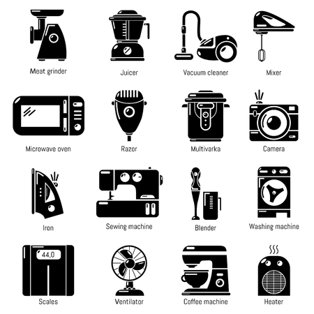sewing machines: Domestic appliances icons set, simple style