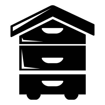 Houten bijenkorf pictogram. Eenvoudige illustratie van houten bijenkorf vectordiepictogram voor Webontwerp op witte achtergrond wordt geïsoleerd