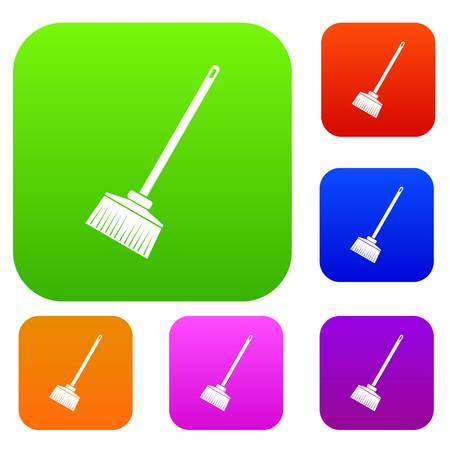 Broom set icon in different colors isolated vector illustration. Premium collection Illustration