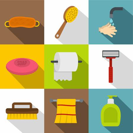 Bathroom Things Icon Set. Flat Style Set Of 9 Bathroom Things Vector Icons  For Web