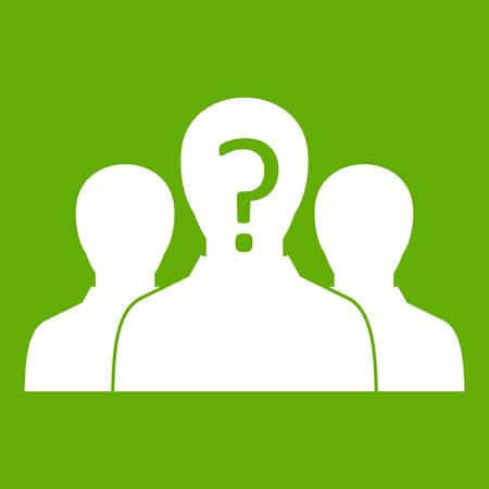 Group of people with unknown personality icon white isolated on green background. Vector illustration Illustration