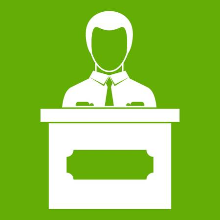 Businessman giving presentation icon green