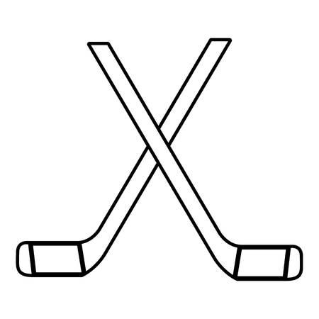 hockey goal: Two crossed hockey sticks icon , outline style Illustration