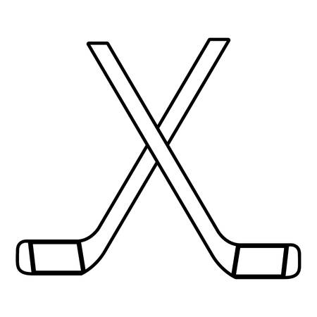 Two crossed hockey sticks icon , outline style