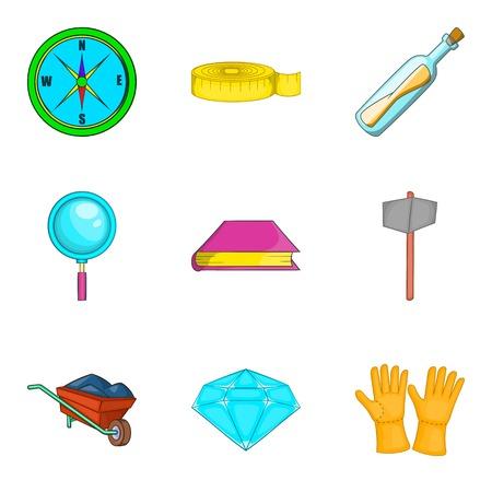 Archeology icons set. Cartoon set of 9 archeology vector icons for web isolated on white background Illustration