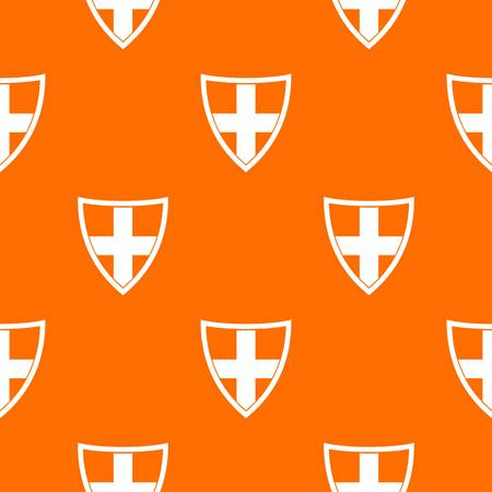 combatant: Shield for protection pattern repeat seamless in orange color for any design. Vector geometric illustration