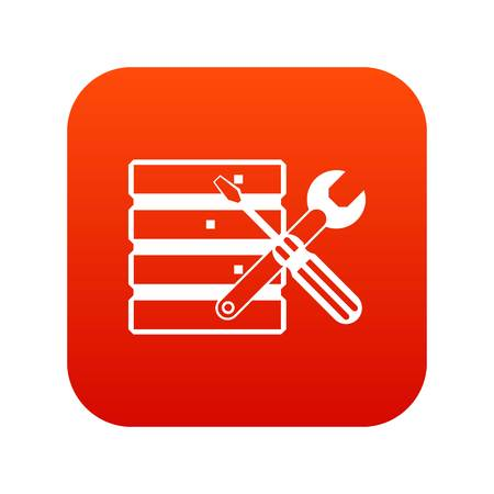 Database with screwdriverl and spanner icon digital red for any design isolated on white vector illustration