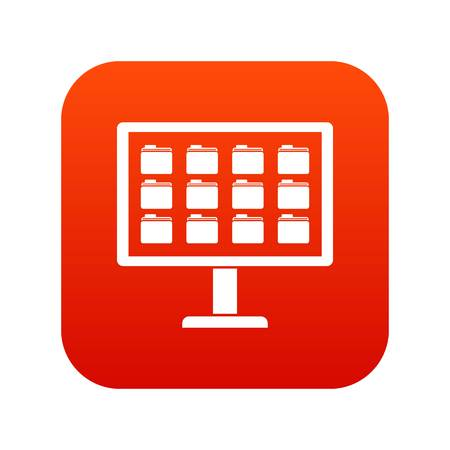 Desktop of computer with folders icon digital red for any design isolated on white vector illustration