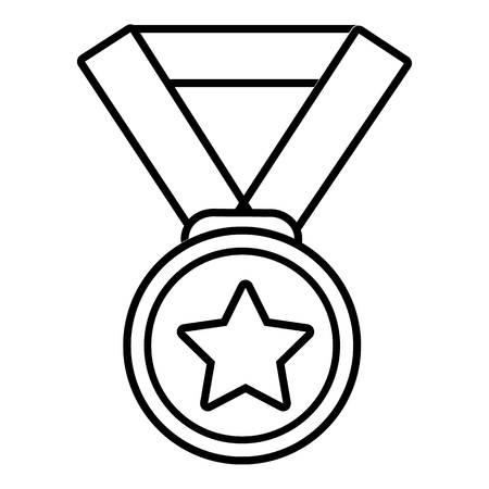 hockey goal: Hockey champion medal icon , outline style