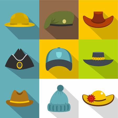Hat icon set. Flat style set of 9 hat vector icons for web design
