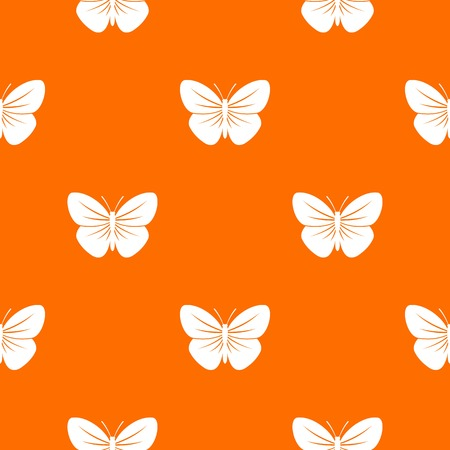 Black butterfly pattern repeat seamless in orange color for any design. Vector geometric illustration