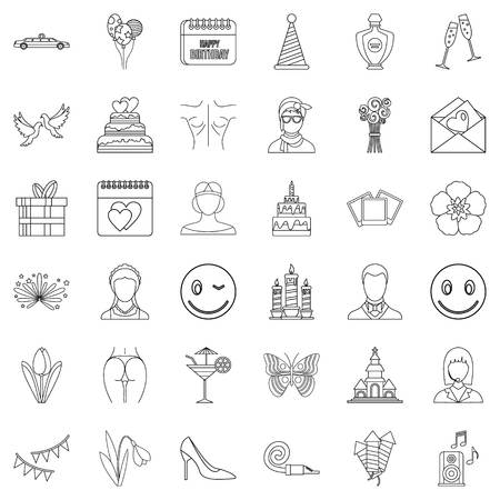 Birthday icons set. Outline style of 36 birthday vector icons for web isolated on white background