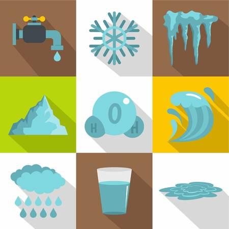 Unterschiedlicher Wasserform-Ikonensatz. Flacher Artsatz von 9 verschiedenen Wasserform-Vektorikonen für Webdesign Illustration