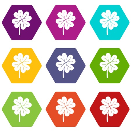 patric icon: Clover leaf icon set many color hexahedron isolated on white vector illustration