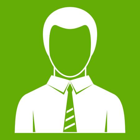 Businessman icon white isolated on green background. Vector illustration
