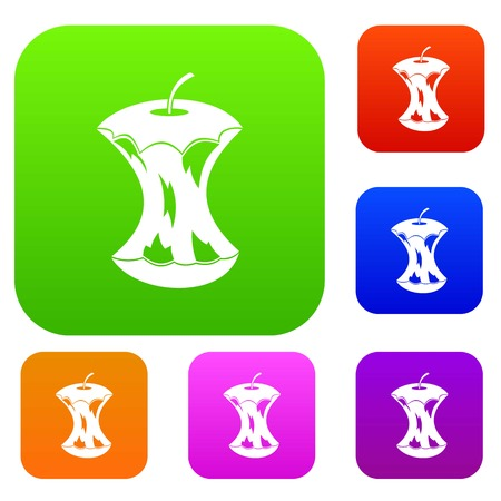 Apple core set icon in different colors isolated vector illustration. Premium collection
