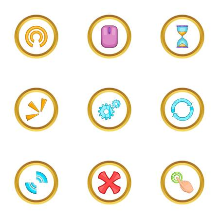 communication cartoon: Different cursor icons set. Cartoon set of 9 different cursor vector icons for web isolated on white background