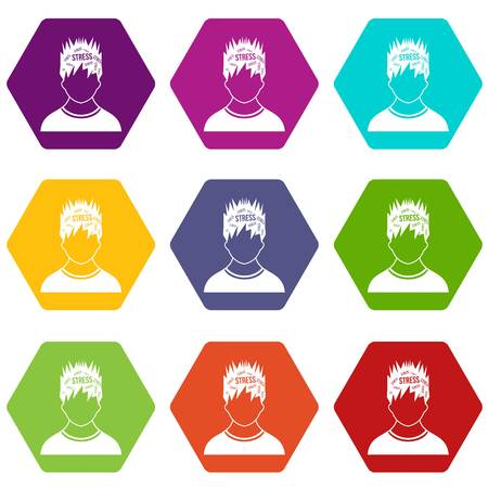 Word stress in the head of man icon set many color hexahedron isolated on white vector illustration Illustration
