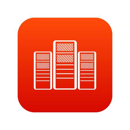 Database servers icon digital red for any design isolated on white vector illustration