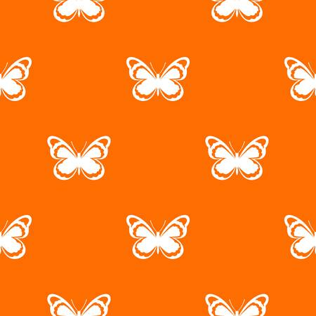 Small butterfly pattern repeat seamless in orange color for any design. Vector geometric illustration