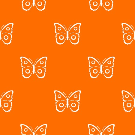 Butterfly peacock eye pattern repeat seamless in orange color for any design. Vector geometric illustration