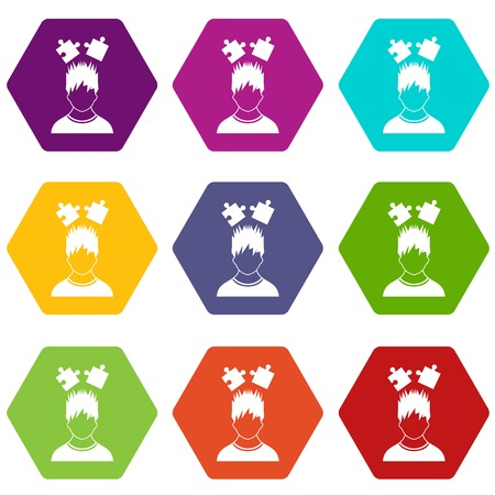 Man with puzzles over head icon set many color hexahedron isolated on white vector illustration