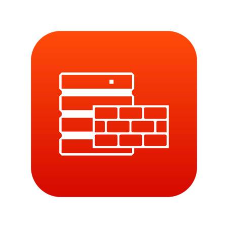 Database and brick wall icon digital red for any design isolated on white vector illustration