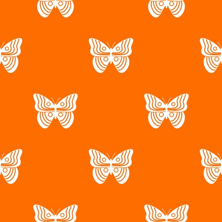 Stripped butterfly pattern repeat seamless in orange color for any design. Vector geometric illustration Illustration