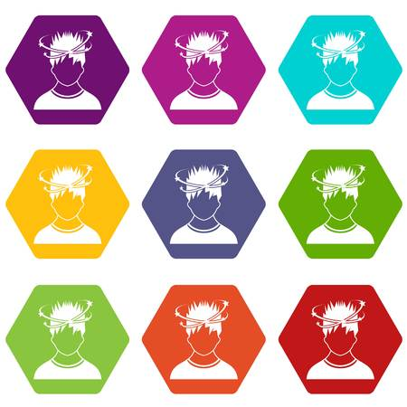 Man with dizziness icon set many color hexahedron isolated on white vector illustration
