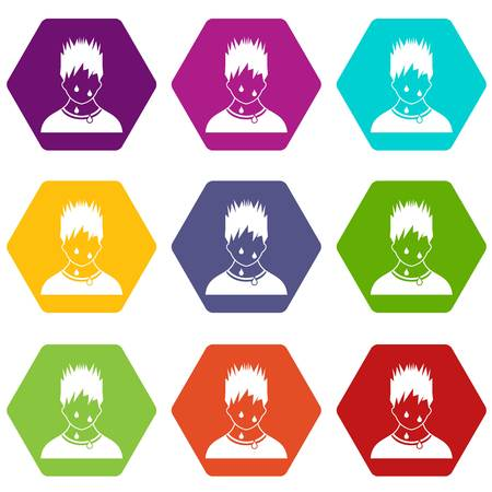 Sweaty man icon set many color hexahedron isolated on white vector illustration
