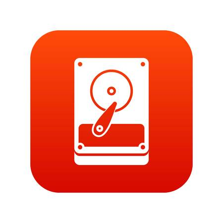 storage compartment: HDD icon digital red for any design isolated on white vector illustration