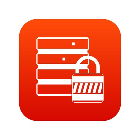 Database with padlock icon digital red for any design isolated on white vector illustration