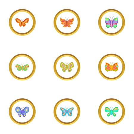 Butterfly icons set. Cartoon set of 9 butterfly vector icons for web isolated on white background