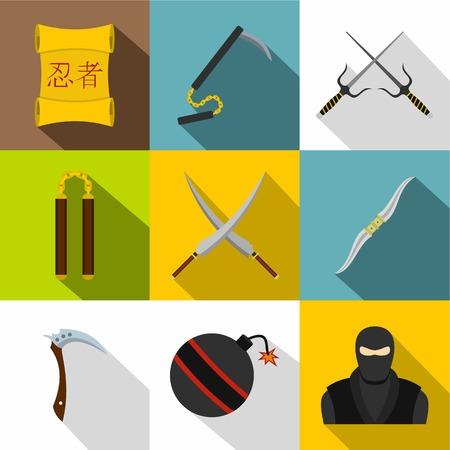 日本の忍者のアイコンを設定します。9 日本忍者ベクター アイコン web デザインのためのフラット スタイル セット  イラスト・ベクター素材