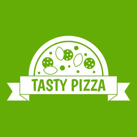 Tasty pizza sign icon white isolated on green background. Vector illustration