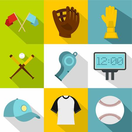 Baseball equipment icon set. Flat style set of 9 baseball equipment vector icons for web design