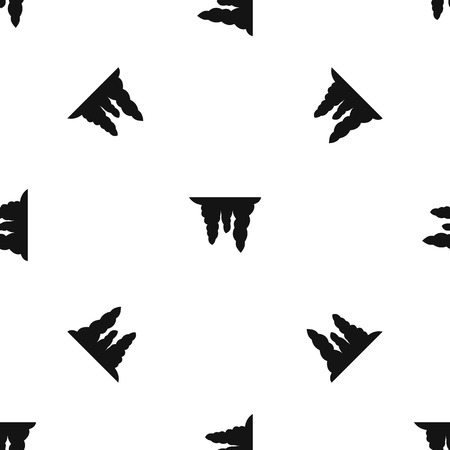 Icicles pattern repeat seamless in black color for any design. Vector geometric illustration