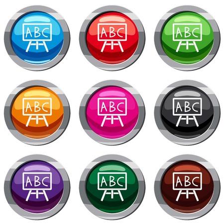 Krijtbord met de letters ABC set 9 verzameling Vector Illustratie