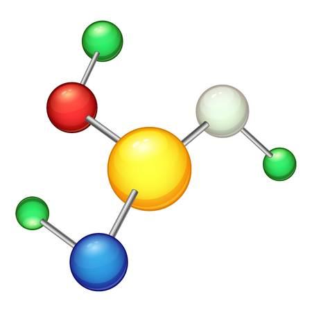 Molecule icon, cartoon style