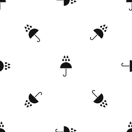 Paraplu en regen druppels patroon naadloze zwart Stock Illustratie