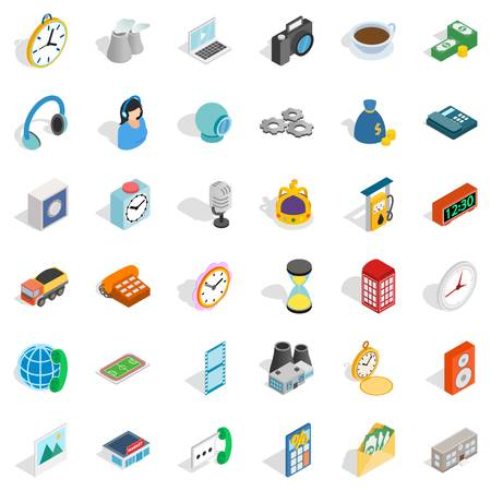 woman laptop: Email icons set, isometric style