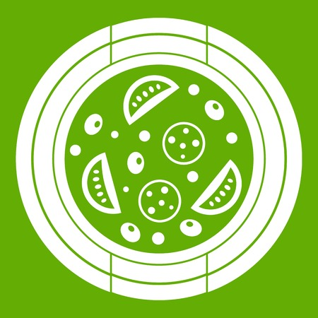 Pizza with sausage, tomatoes and olives icon white isolated on green background. Vector illustration